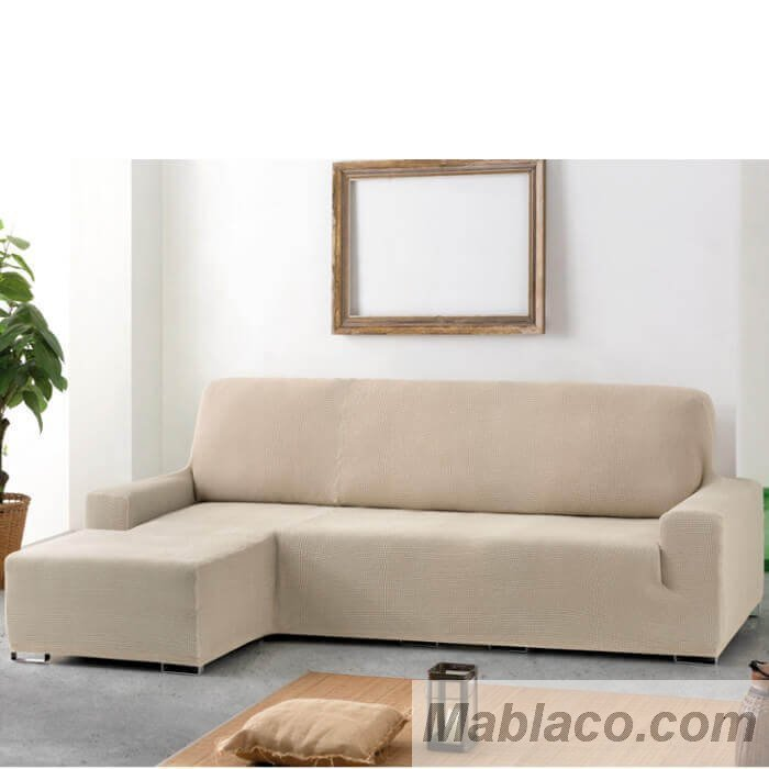 Funda de sof chaise longue apoyabrazos corto aquiles biel stica cora - Fundas para sofas con chaise longue ...