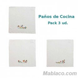 Paños de Cocina Jucatan 450gr Algodón 45x45 Pack 3
