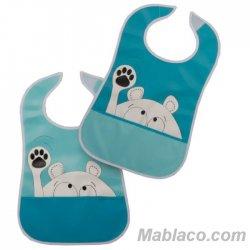 Babero con bolsillo Impermeable pack 2 Azul