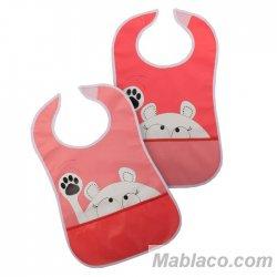 Babero con bolsillo Impermeable pack 2 Rosa