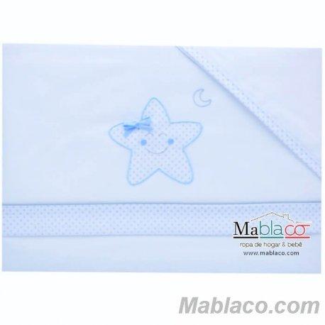 Juego Sábanas Bebé Lazo Estrella 100% Algodón Azul