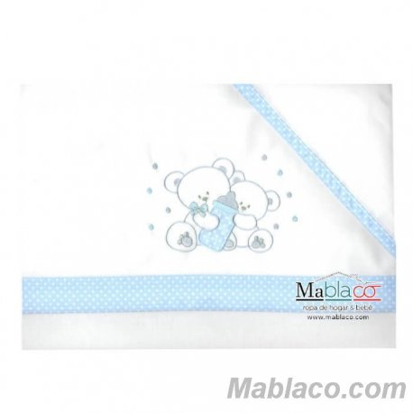 Juego Sábanas Bebé Oso Biberón 100% Algodón Azul