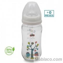 Biberón de Cristal Anticólico 240 ml Cuello Ancho Hello Detalles