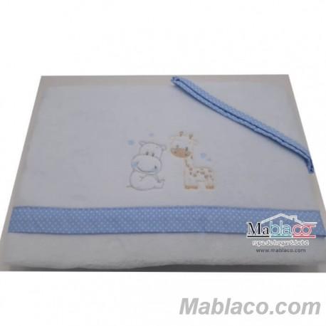 Juego Sábanas Bebé Invierno Microlina Bordada Hipo Jirafa Azul