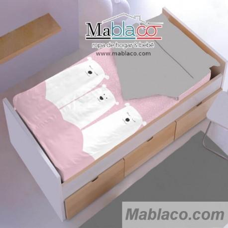 Saco Nórdico Coralina Invierno Family Oso Rosa 100% Algodón