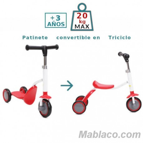Patinete Triciclo Infantil 2 en 1 Cool Patinete convertido en triciclo