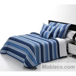 Edredón Comforter Rayas Azul Reversible