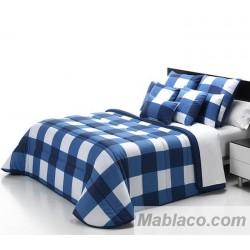 Edredón Comforter Cuadros Azul Reversible
