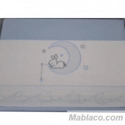 Juego Sábanas Bebé Luna Conejo Azul 100% Algodón