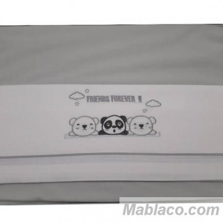 Juego Sábanas Bebé Oso Panda Gris 100% Algodón
