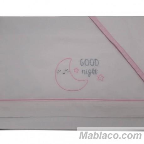 Juego Sábanas Bebé Good Night Rosa 100% Algodón