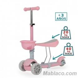 Patinete Infantil Bubblegum con Luz en las ruedas Rosa