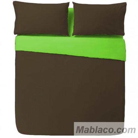 Funda Nórdica Lisas Bicolor Chocolate - Pistacho