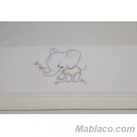 Juego Sábanas Bebé Elefante Puntilla Amarillo 100% Algodón