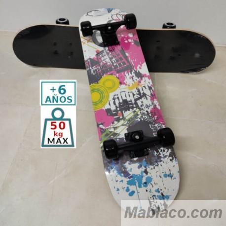 """Monopatín Skateboard 31"""" Blanco B21"""