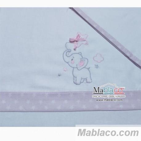 Juego Sábanas Bebé Elefante Lazo Rosa 100% Algodón
