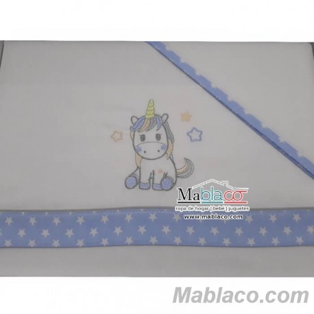 Juego Sábanas Bebé Unicornio Azul 100% Algodón
