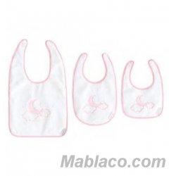 Set baberos rizo plastificado 3 piezas Moon Rosa