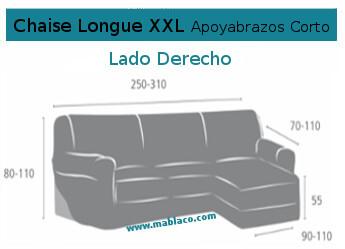 Medida Funda Chaise Longue XXL apoyabrazos Corto Aquiles