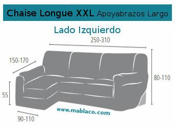 Medida Funda Chaise Longue XXL apoyabrazos largo Dam