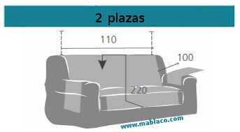 Medida Cubre Sofá 2 plazas