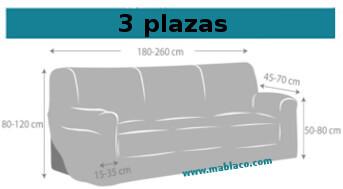 Medida Funda Sofá 3 plazas Roc