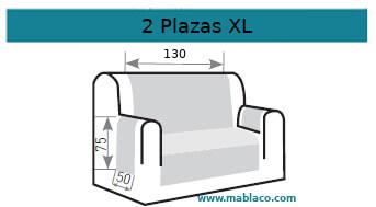 Medida Cubre Sofá 2 plazas XL