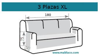 Medida Cubre Sofá 3 plazas XL