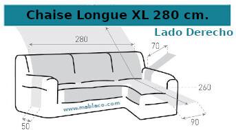 Medida Cubre Sofá Chaise Longue Extra