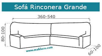 Medida Funda de Sofá elástica Rinconera