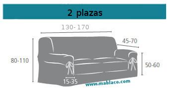 Medida Funda Sofá Lazos 2 plazas