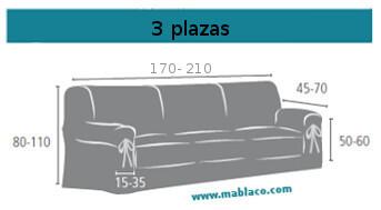 Medida Funda Sofá Lazos 3 plazas